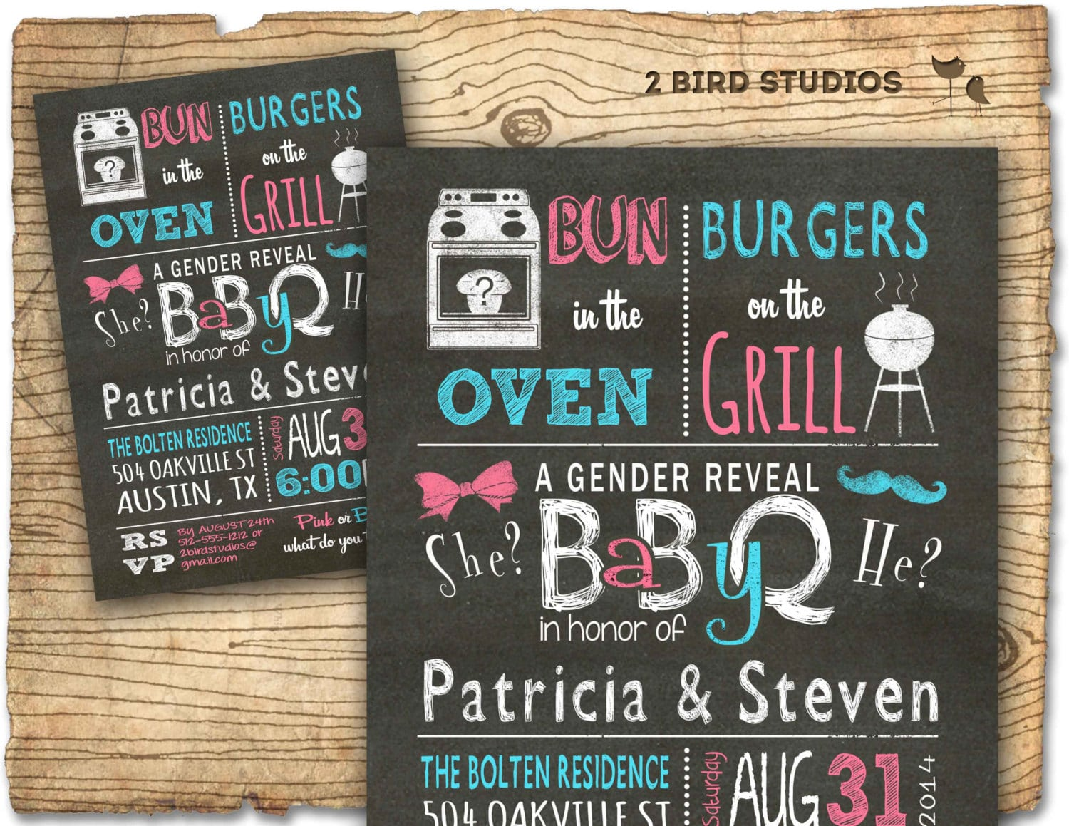 Gender Reveal Invitation Chalkboard Baby Q Barbecue Baby
