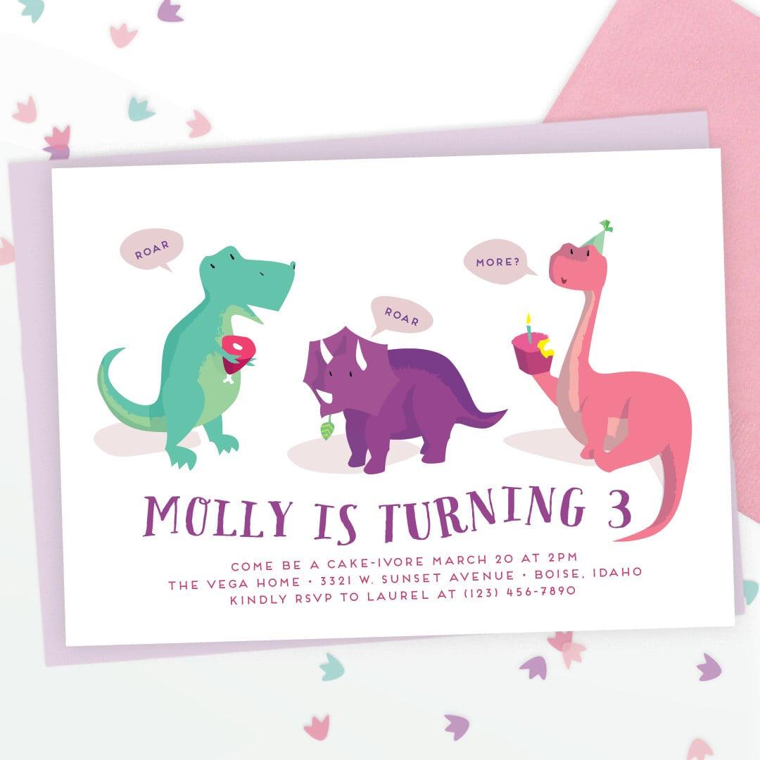 Girls Dinosaur Party Invitation