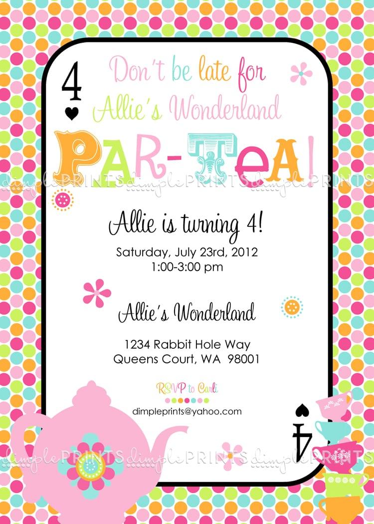 Girls Tea Party Invitation   Ukrobstep Com