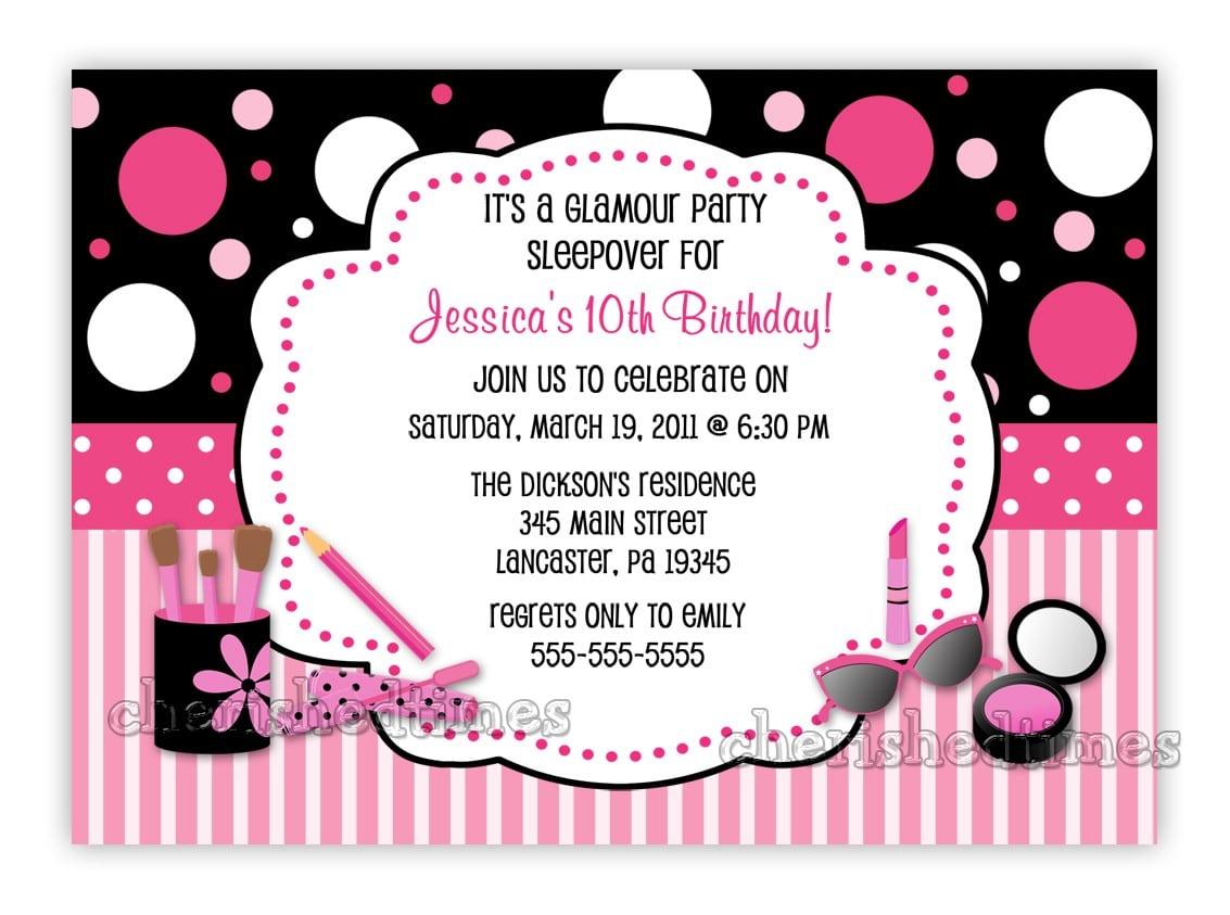 Glamour Make Up Birthday Party Invitation You Print