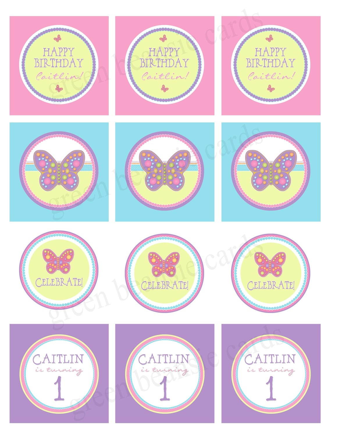 Green Beansie Ink  New Listing! Butterfly Party Circles!