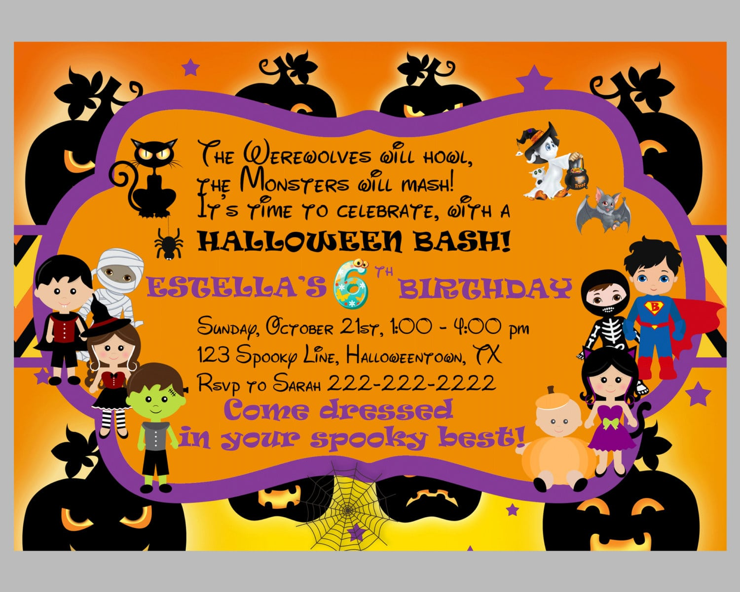 Halloween Party Invitations With Orange Background Color  Birthday