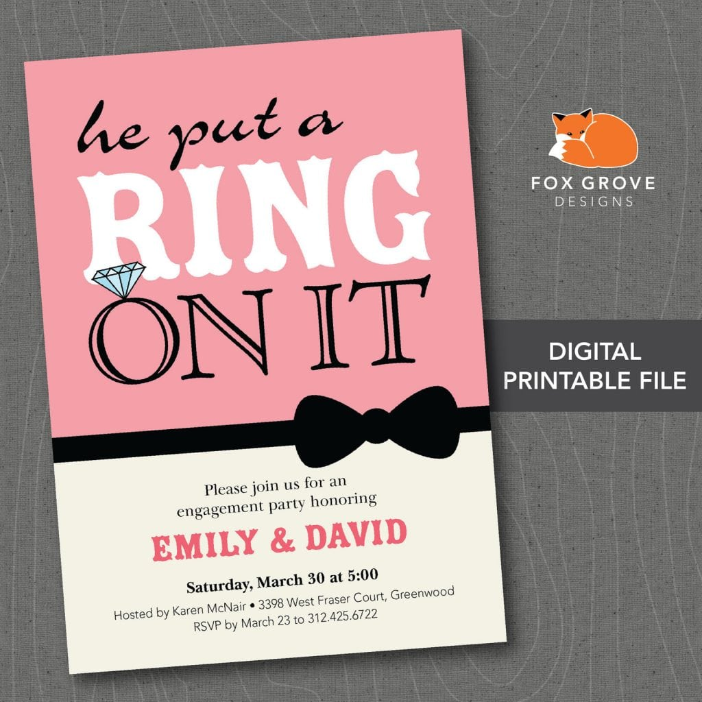 He Put A Ring On It Engagement Party Invitations Design  Wedding