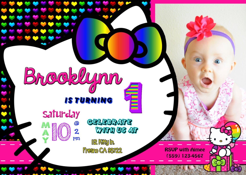 Hello Kitty Neon Rainbow Birthday Party Invitation Invite