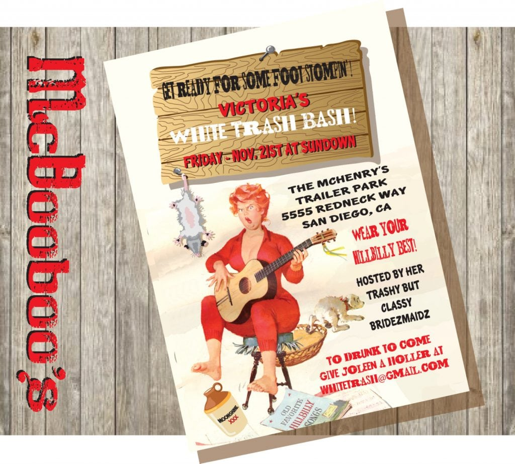 Hillbilly Party Invitation With Pine Wood Background And Border