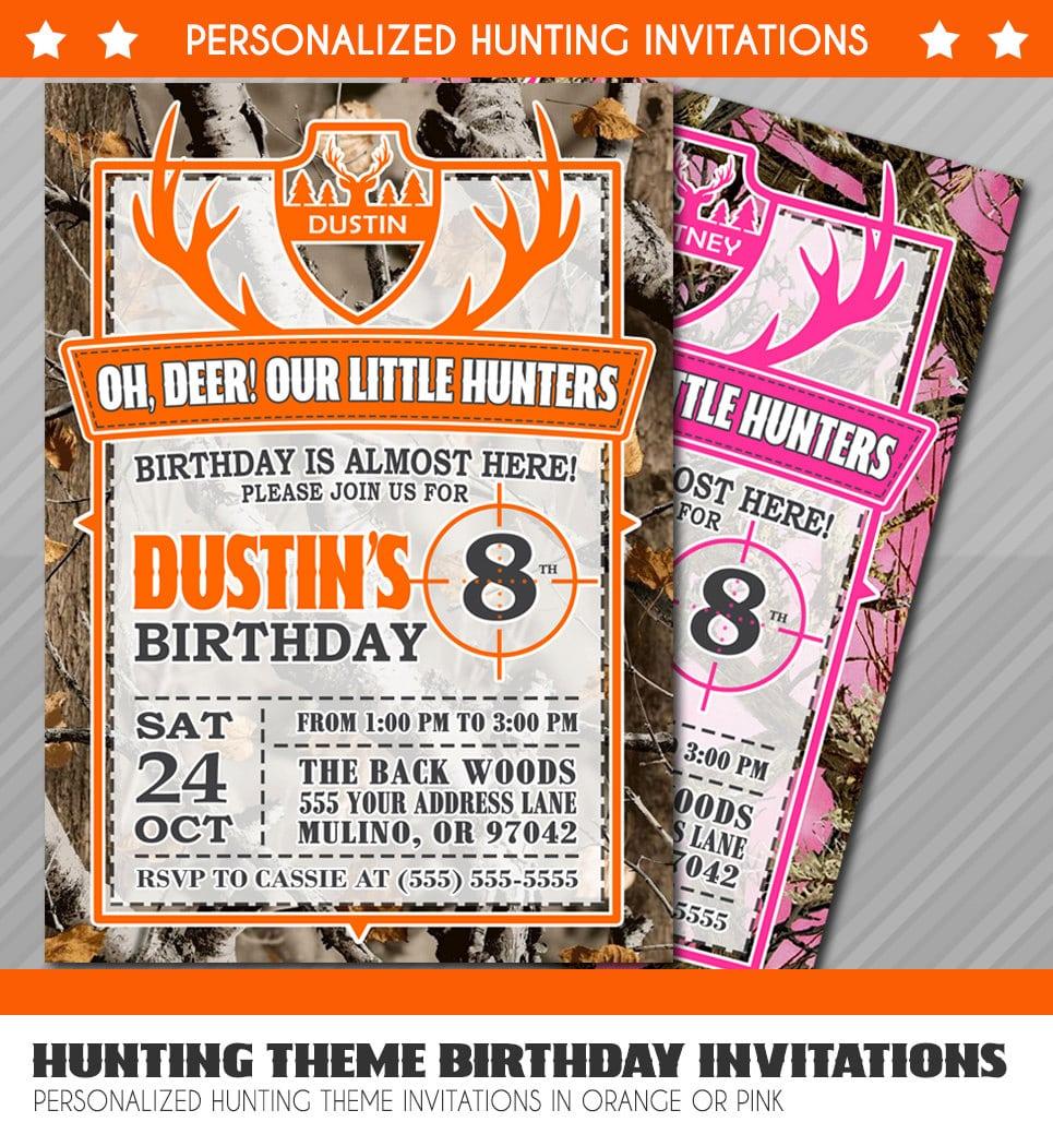 Hunting Birthday Invitations, Little Hunter Birthday Invitation