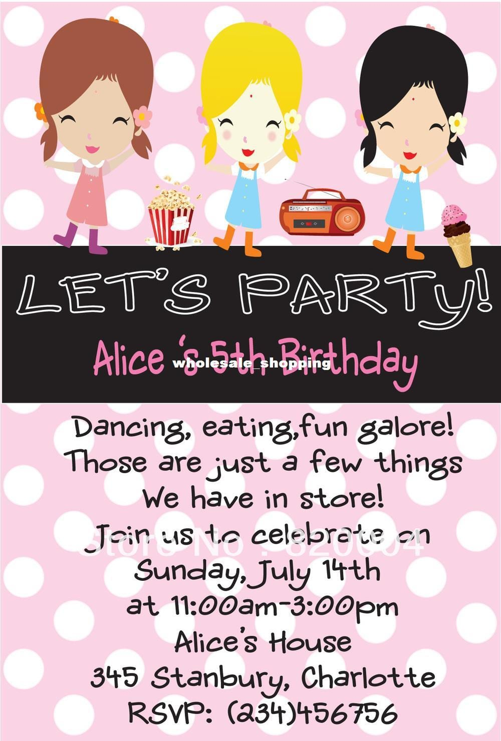 Invitation Card For Kids Birthday Party