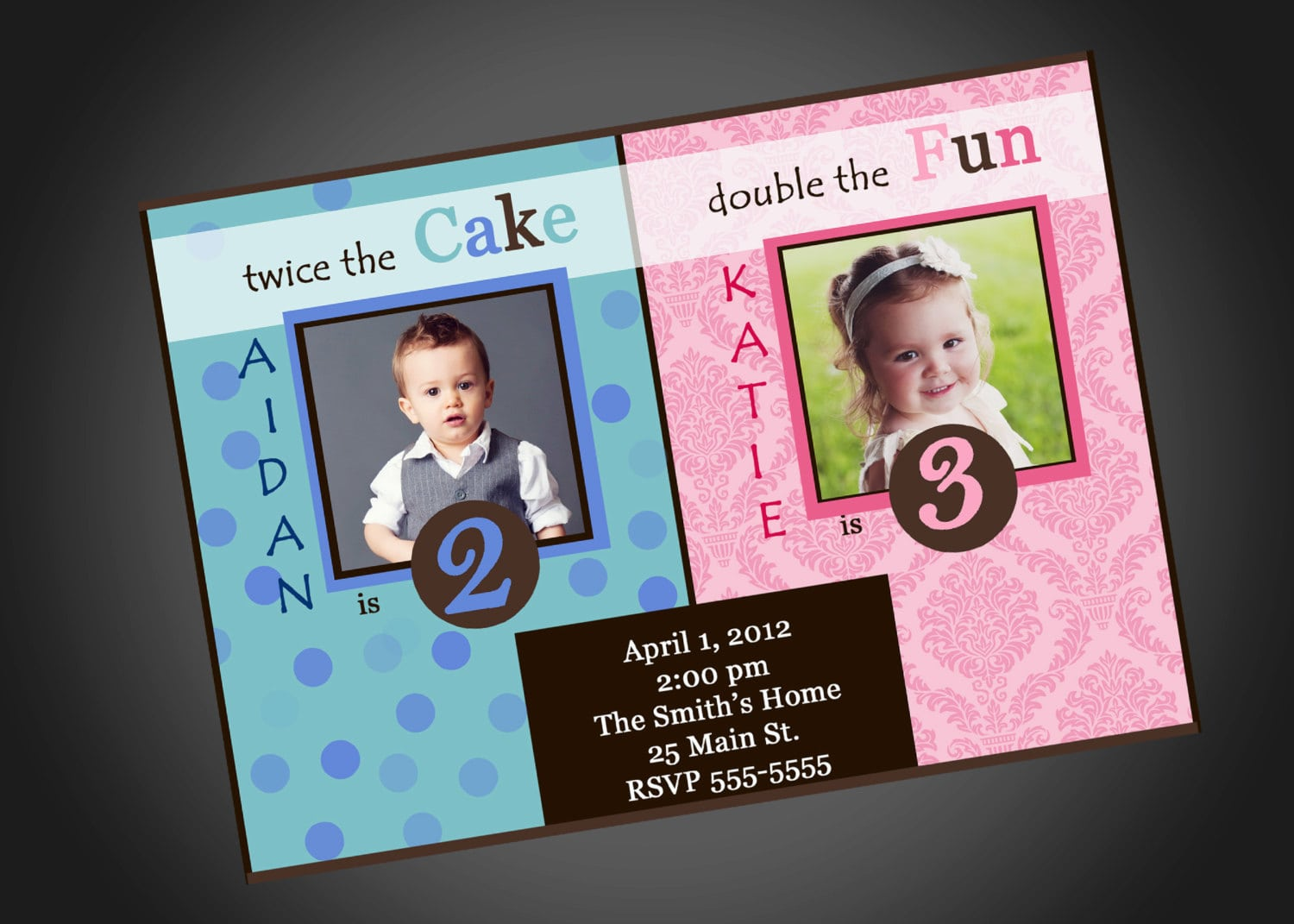 Joint Party Girl Boy Birthday Invitation