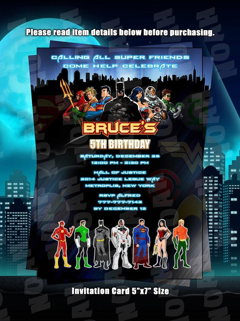 Justice league party invitations stopboris Images