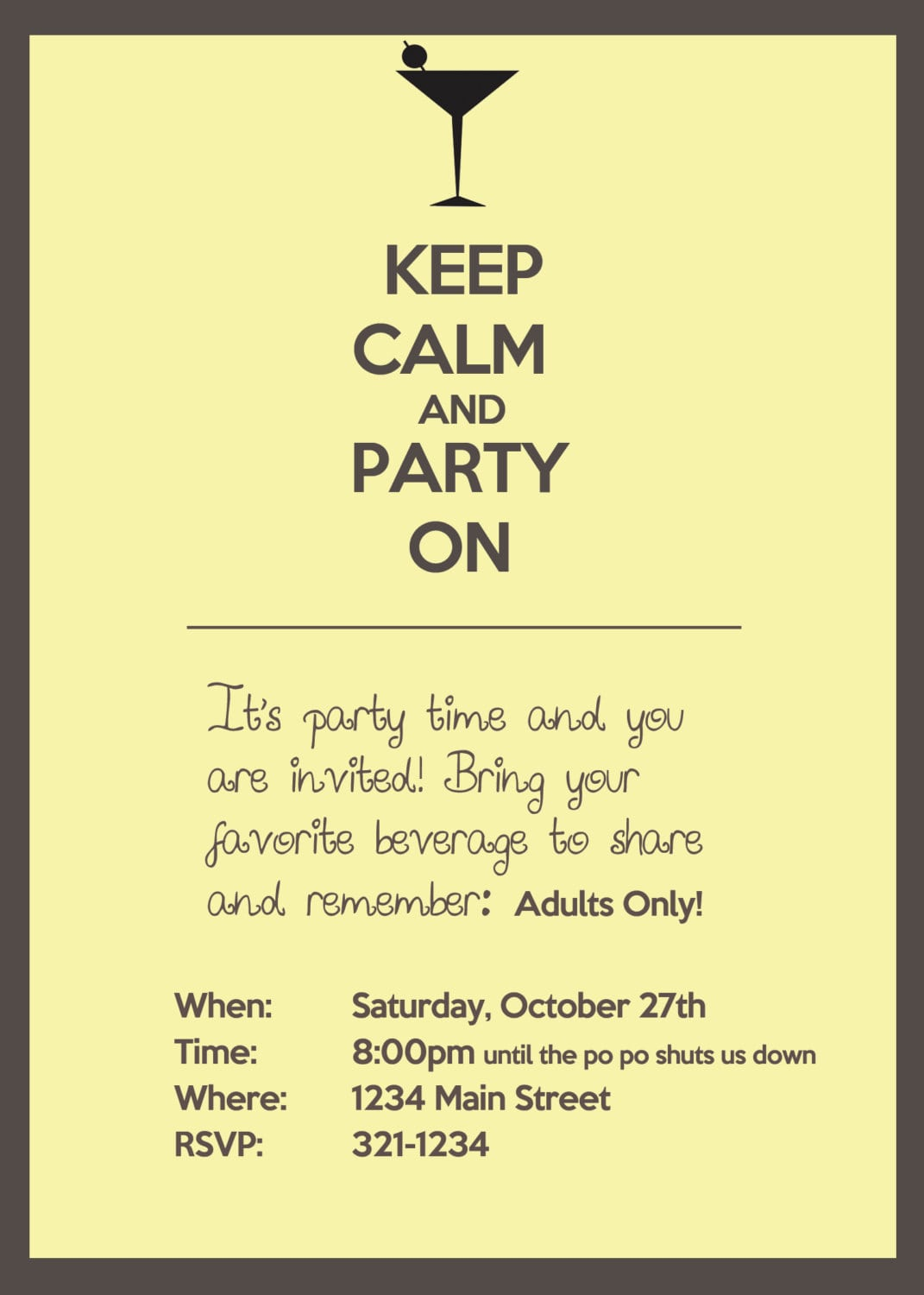 Keep Calm And Party On, Adult Party Invitation  $15 00, Via Etsy