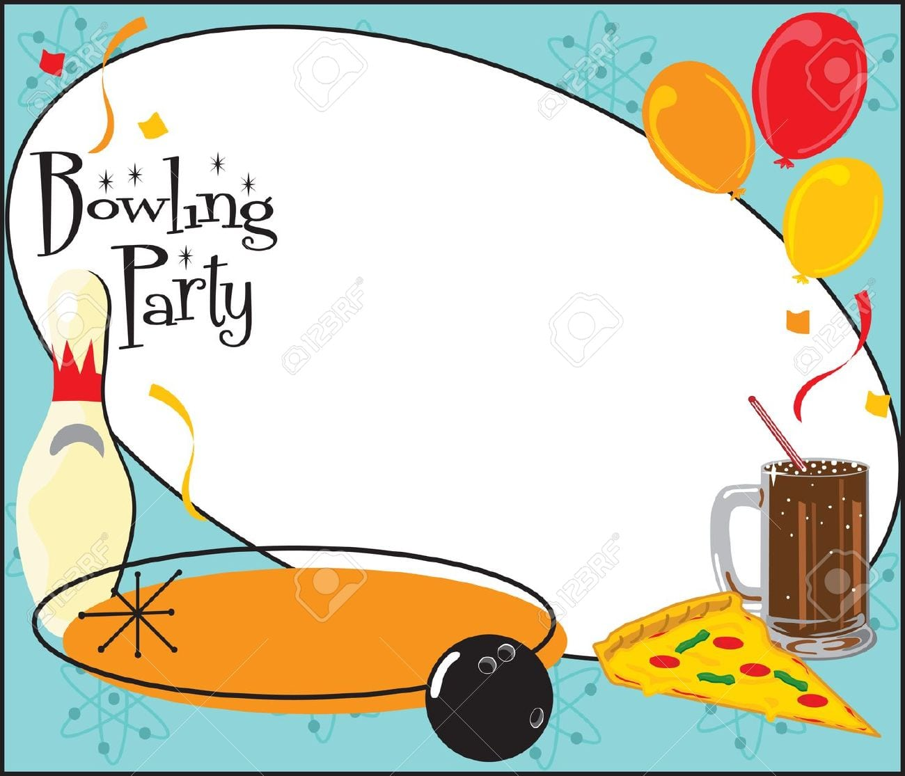 Kids Or Adult Bowling Birthday Party Or Team Party Invitation