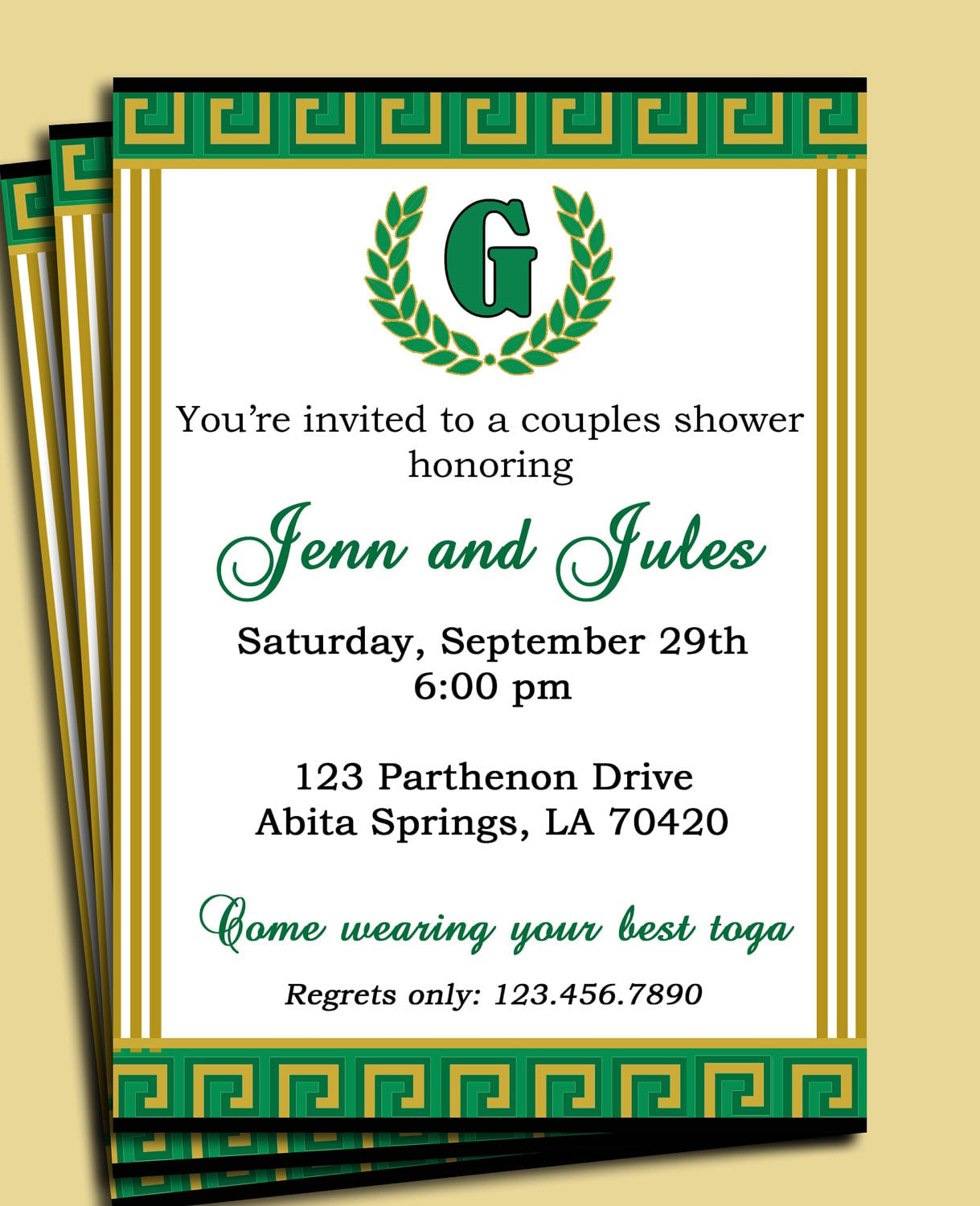 Laurel Leaf Invitation Pick Colors Customized For Your
