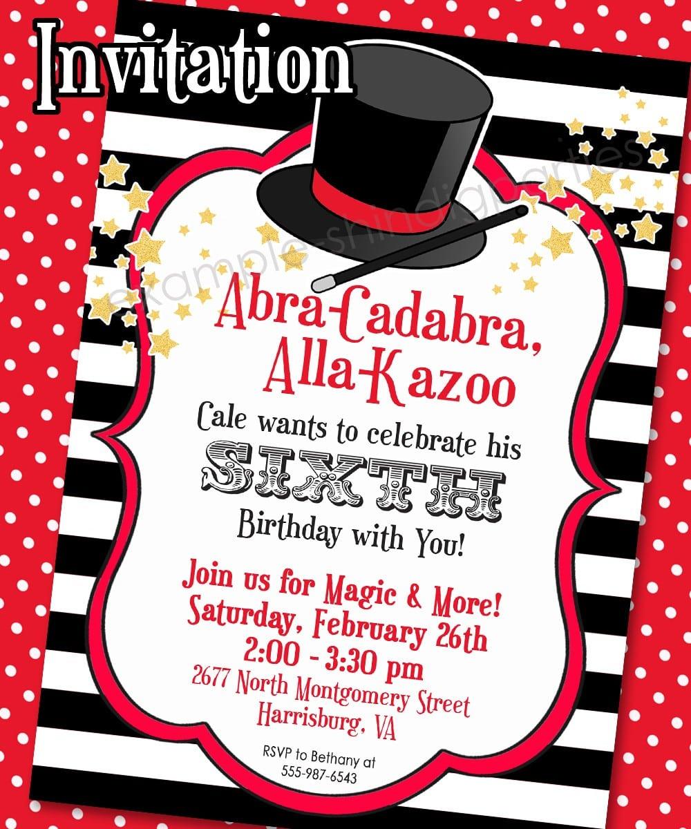 Magic Themed Birthday Party Invitations