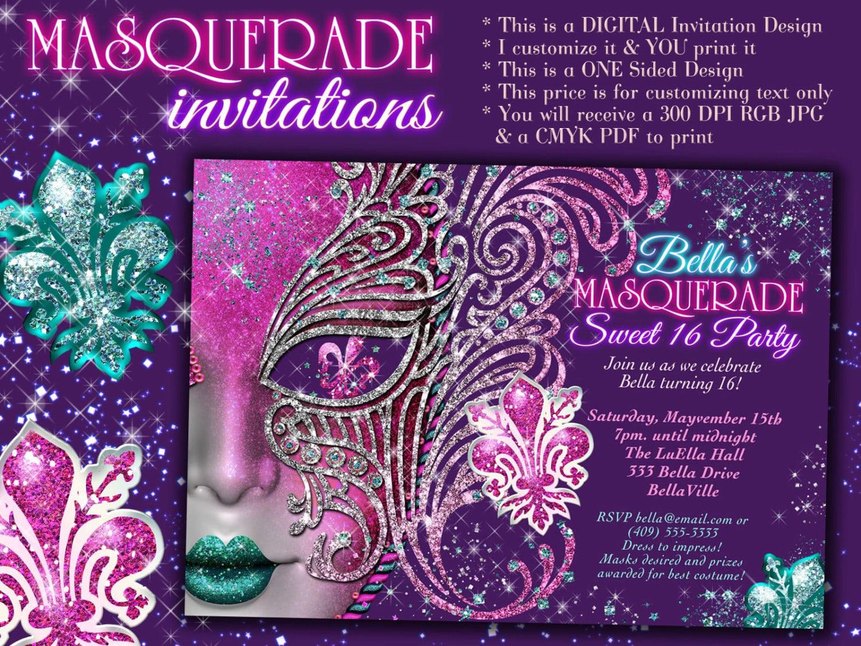 Mardi Gras Party Invitation Cards Design Ideas