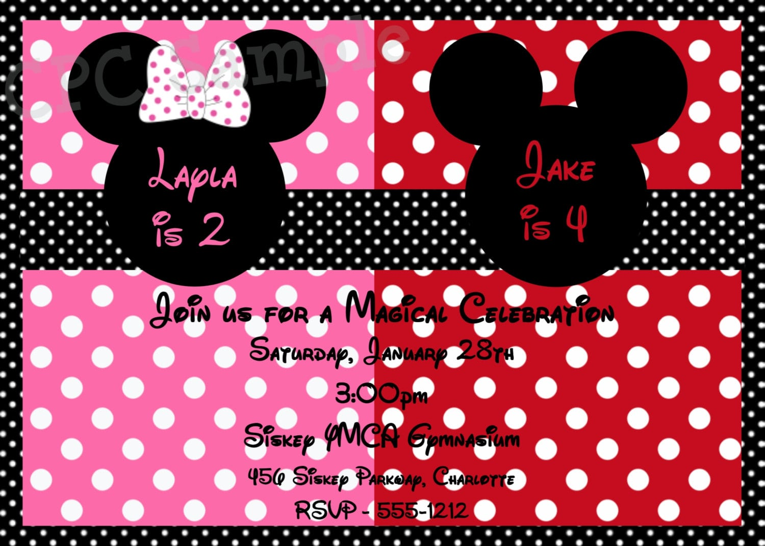 Mouse Birthday Invitation Mouse Birthday Party Invitations Twins