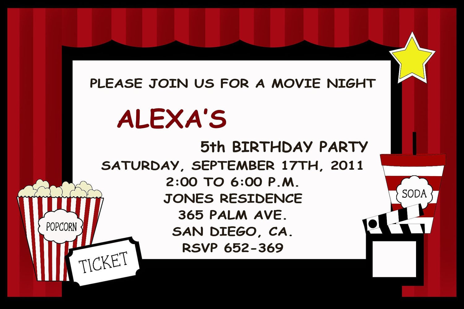 Movie Ticket Party Invitation Template Mickey Mouse Invitations – Movie Ticket Invitations Template