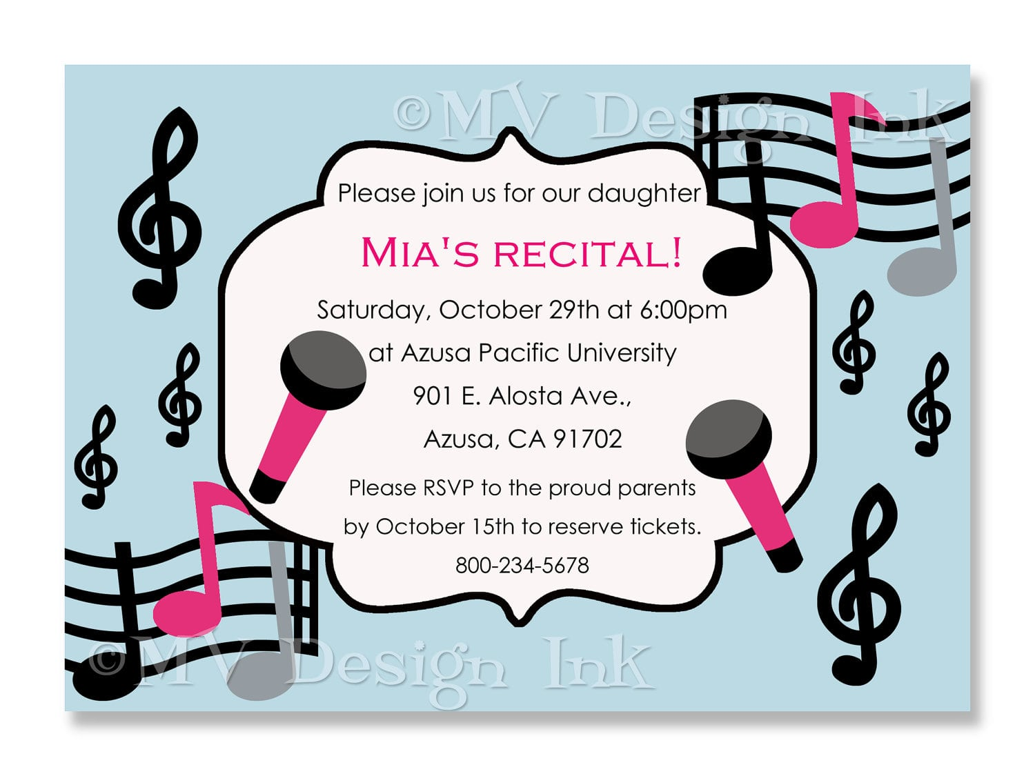 Music Themed Birthday Party Invitations - Mickey Mouse Invitations ...