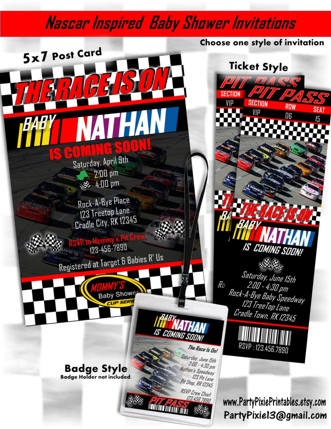 Nascar Inspired Baby Shower Party Package Decorations And