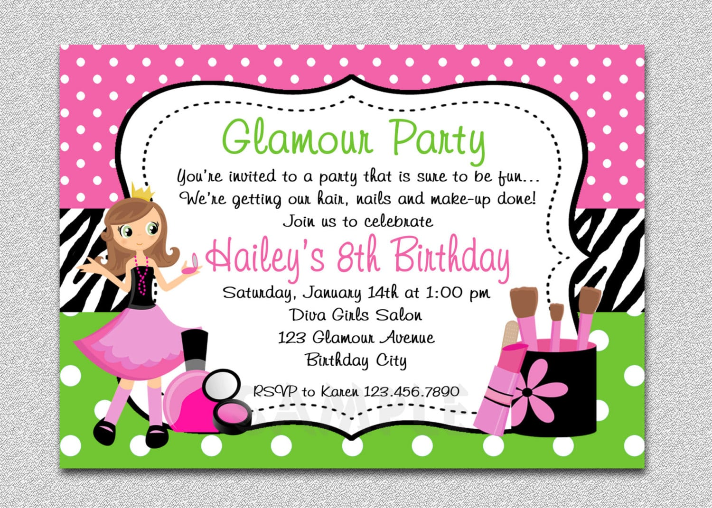 Pamper Party Invitations For Girls – Podpedia Invitation