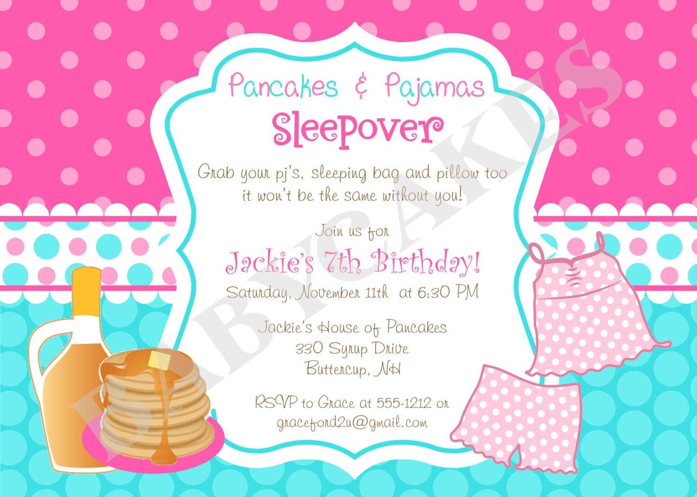 Pancakes And Pajamas Invitation Pancake And Pajama Party Birthday