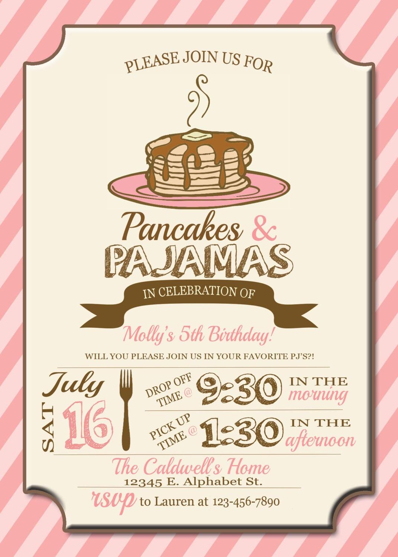 Pancakes And Pajamas Party Invitations