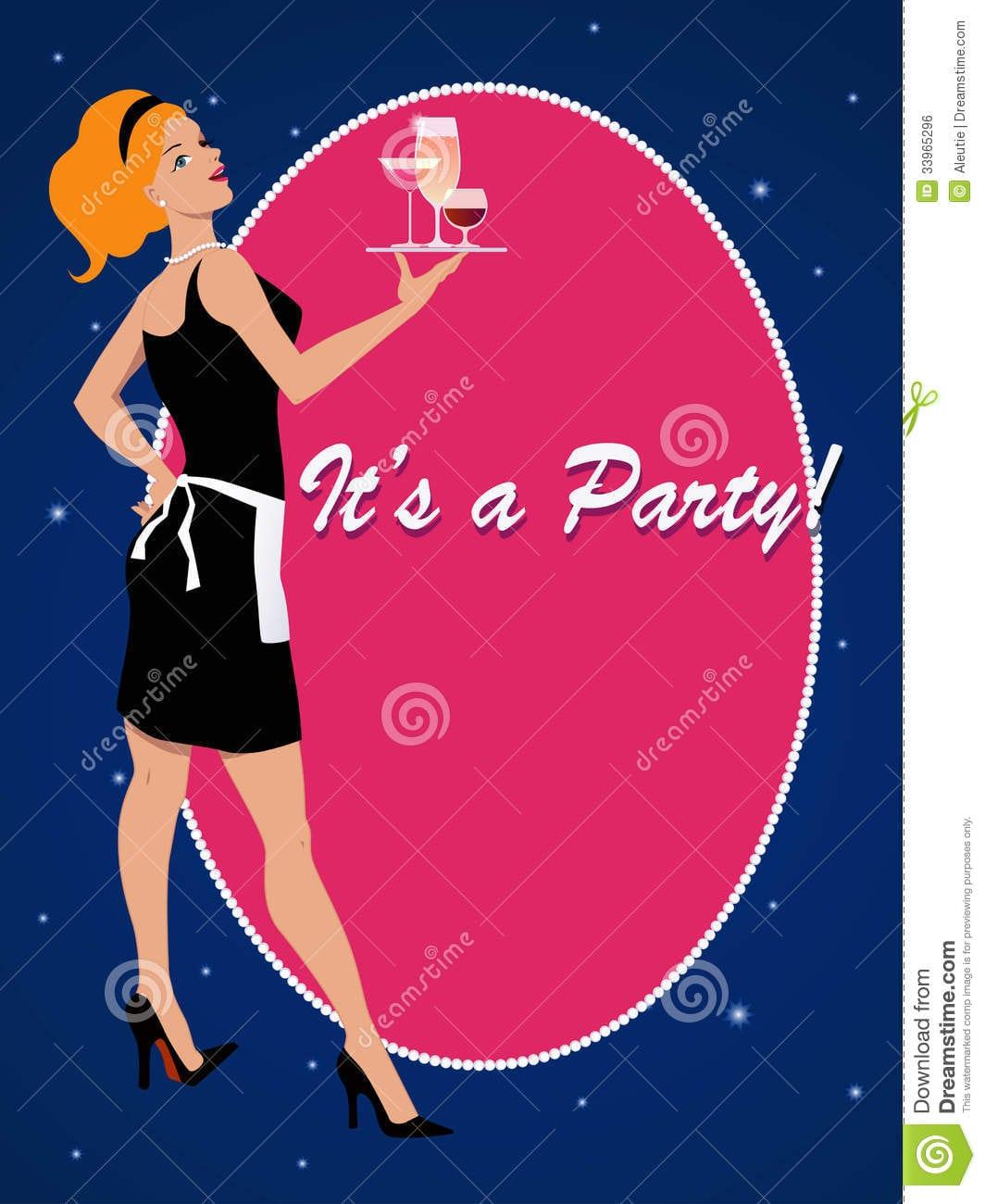 Party Invitation With A Cocktail Waitress Royalty Free Stock Image