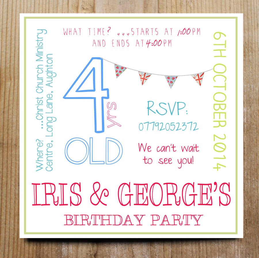 Personalised Child's Party Invitation By Precious Little Plum