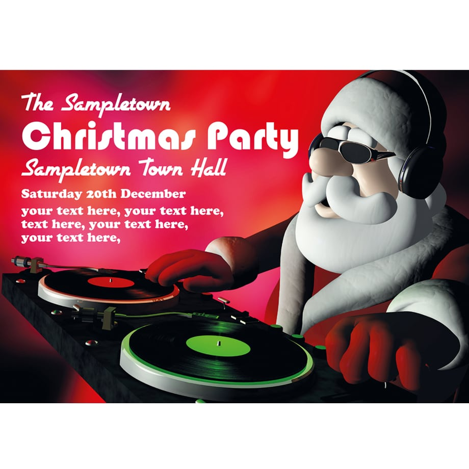 Personalised Christmas Party Invites Super Cool Disc Jockey Santa