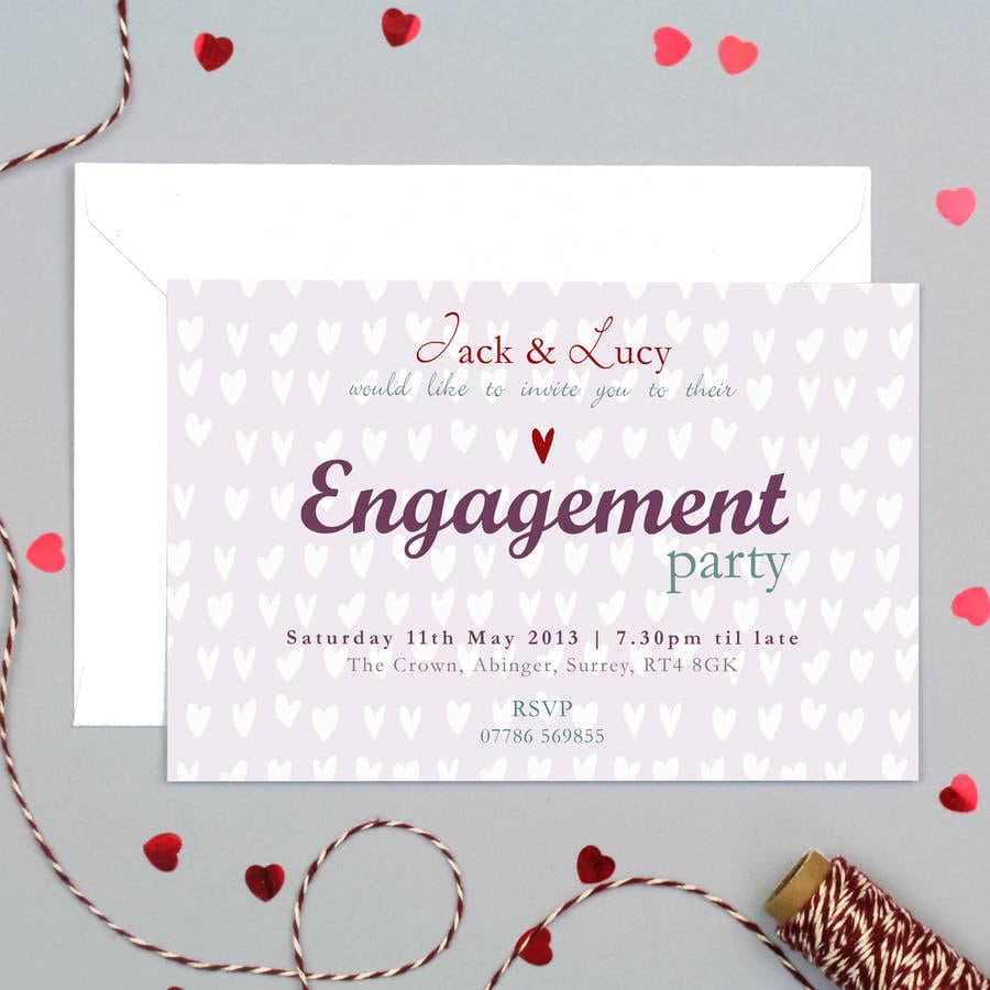 Personalised Engagement Party Invitation By Molly Moo Designs
