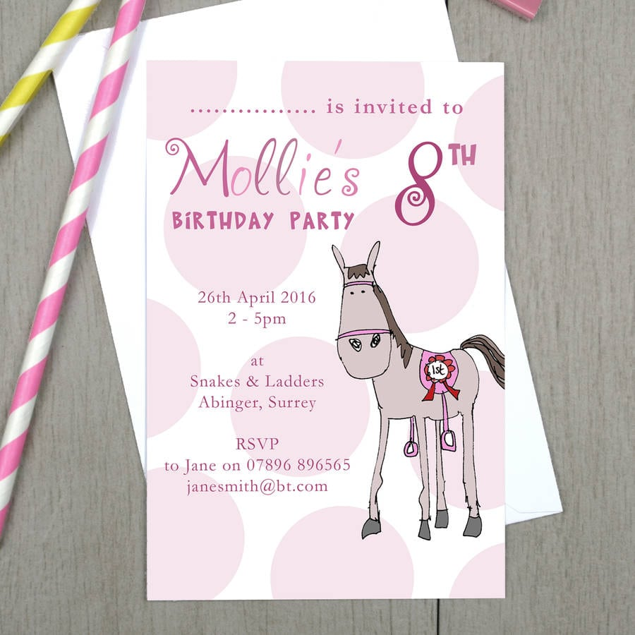 Personalised Girl's Pony Birthday Party Invitations By Molly Moo