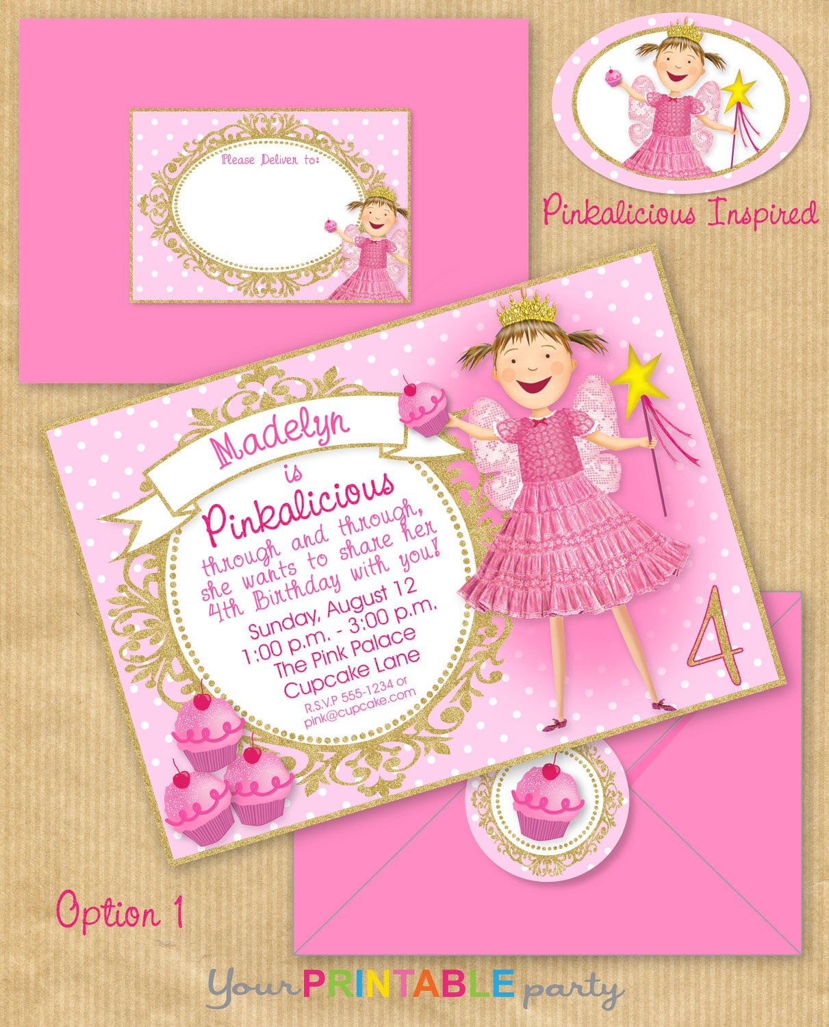 Pinkalicious Party Invitation 5x7 With Address Labels