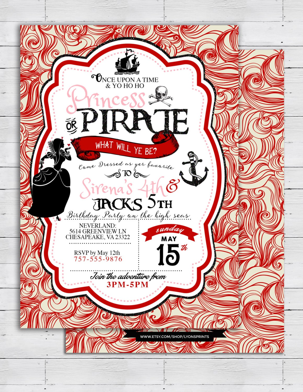 Pirate And Princess Party Invitations Personalised  Pirate And