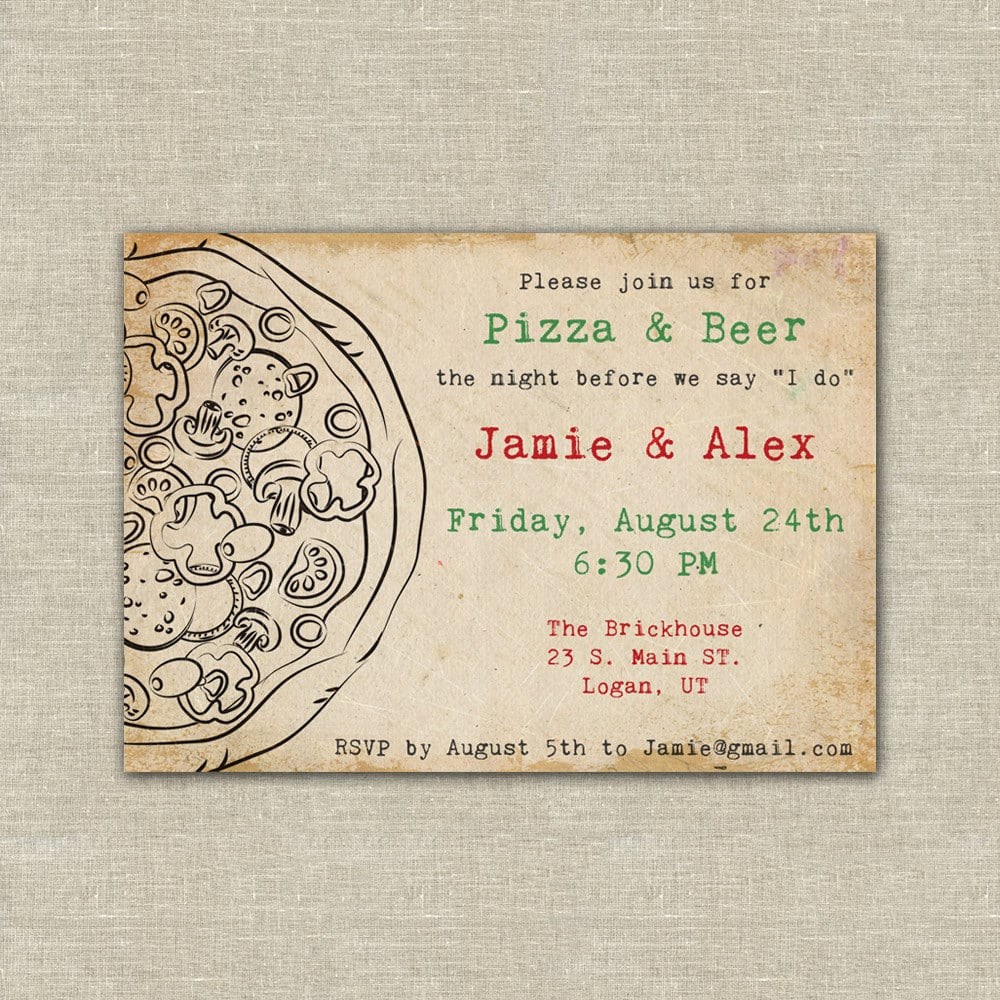Pizza Party, Pizza And Beer, Wedding Rehearsal Dinner, Digital
