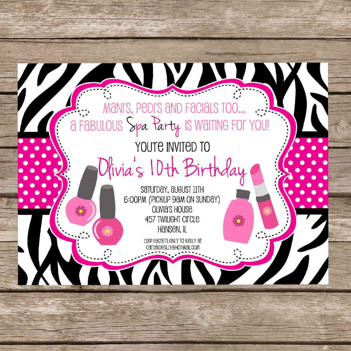 Printable Girlie Spa Zebra Print Birthday Slumber Party Sleepover