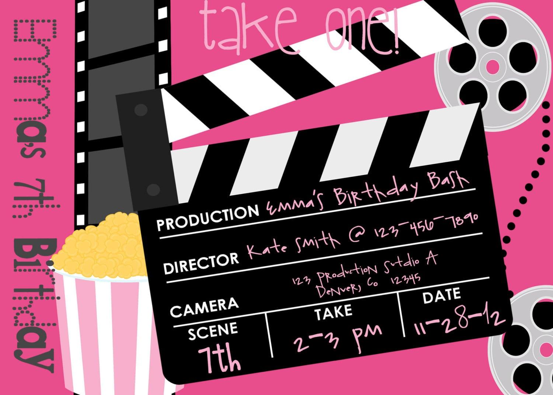 Printable Movie Themed Birthday Party Invite