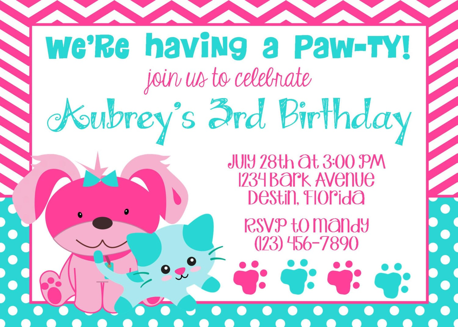 Puppy & Kitty 5x7 Invitation Girl Birthday Party Printable
