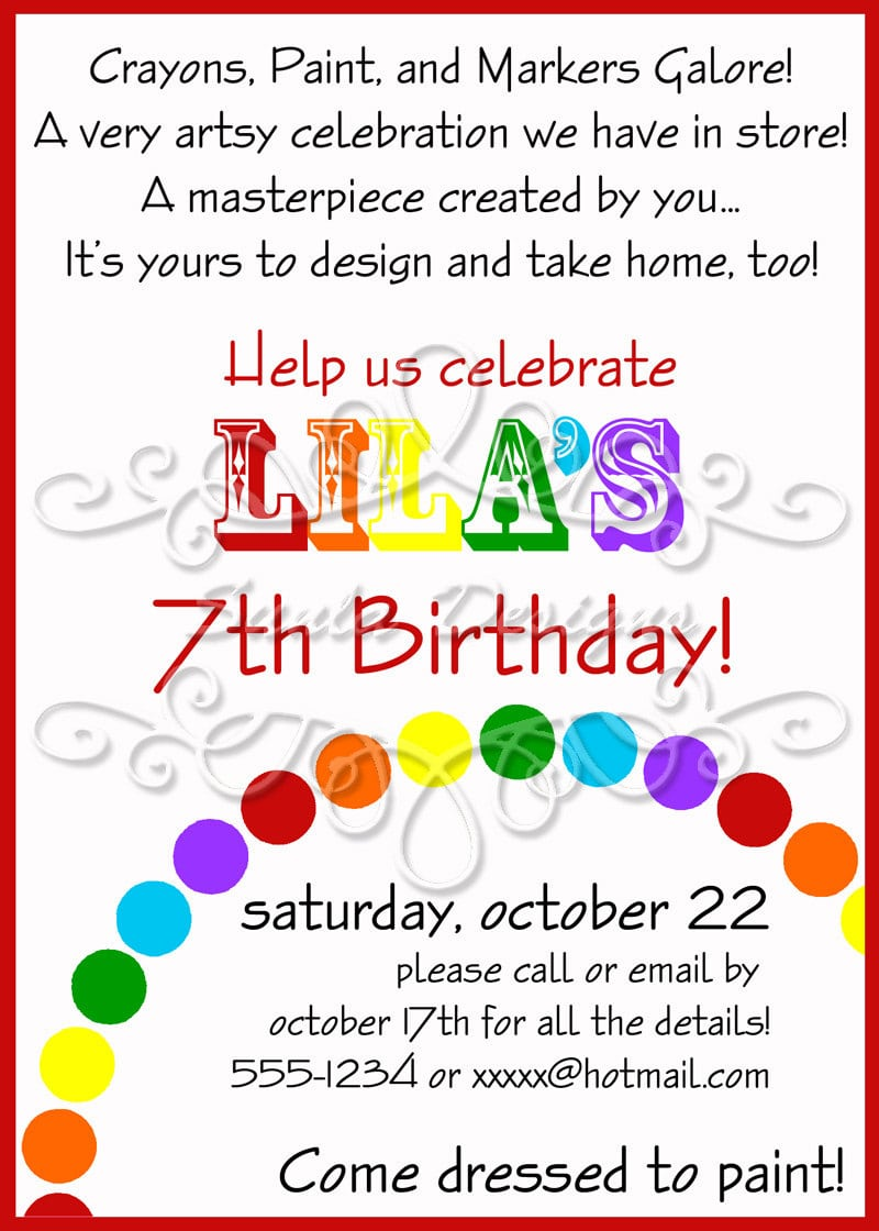 Rainbow Art Birthday Party Or Playdate Invitation