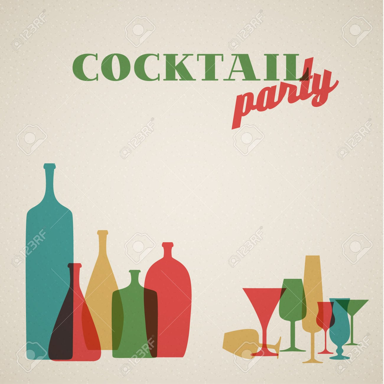 Retro Cocktail Party Invitation Card With Glasses And Bottles