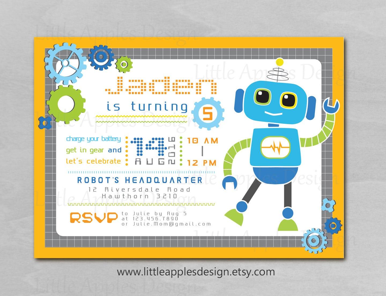 robot party invitations - Tikir.reitschule-pegasus.co