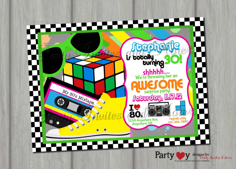 80s Birthday Party Invitations