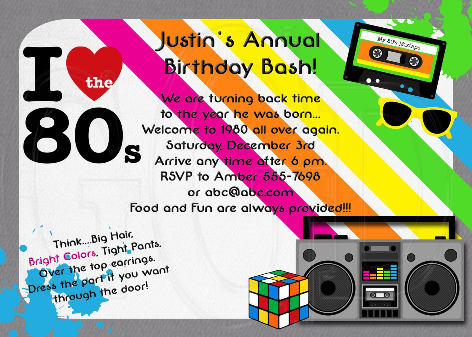 Similiar 80s Theme Party Invitation Wording Keywords