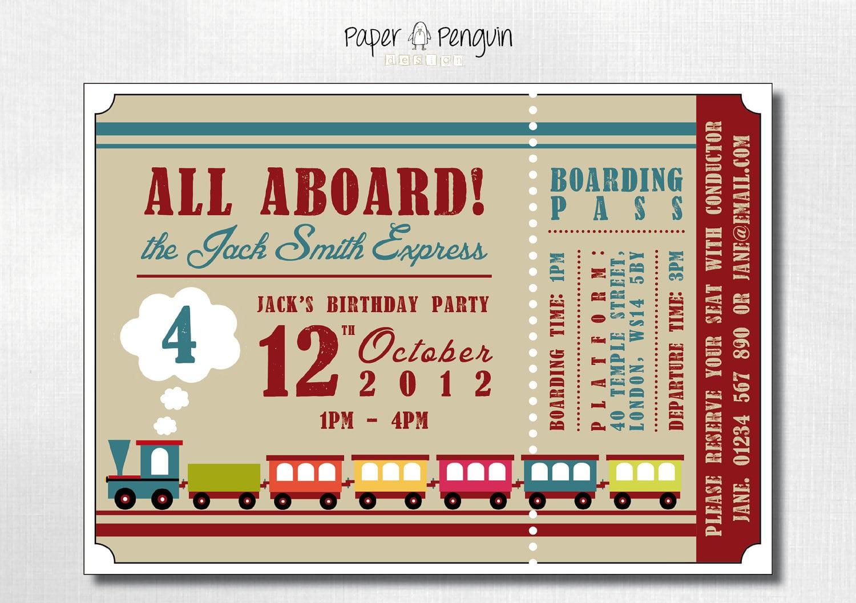 Similiar Printable Train Ticket Birthday Invitations Keywords