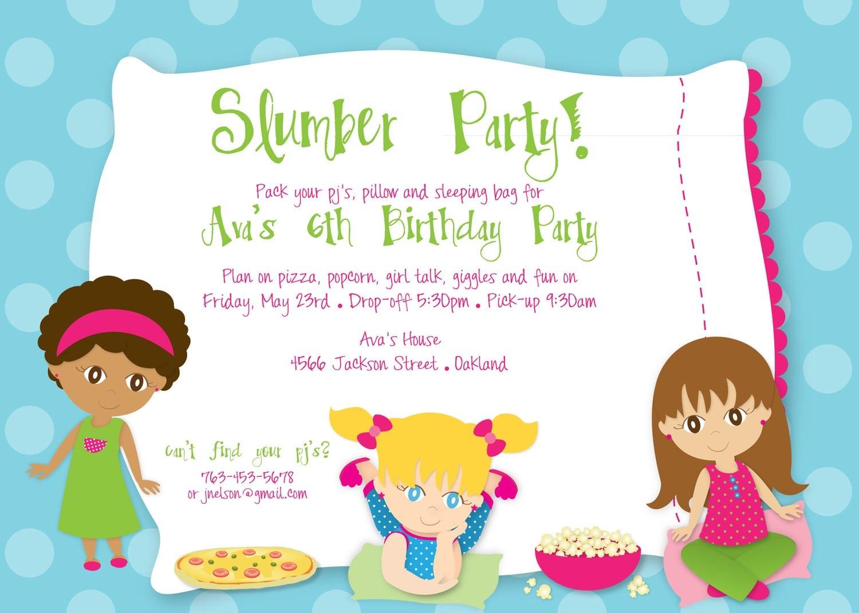 Slumber Party Invitation Wording Ideas