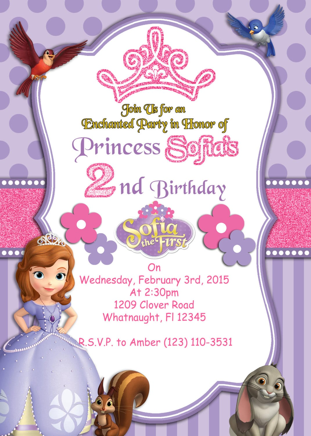 Sofia The First Birthday Party Invitation, Free Thank You Card