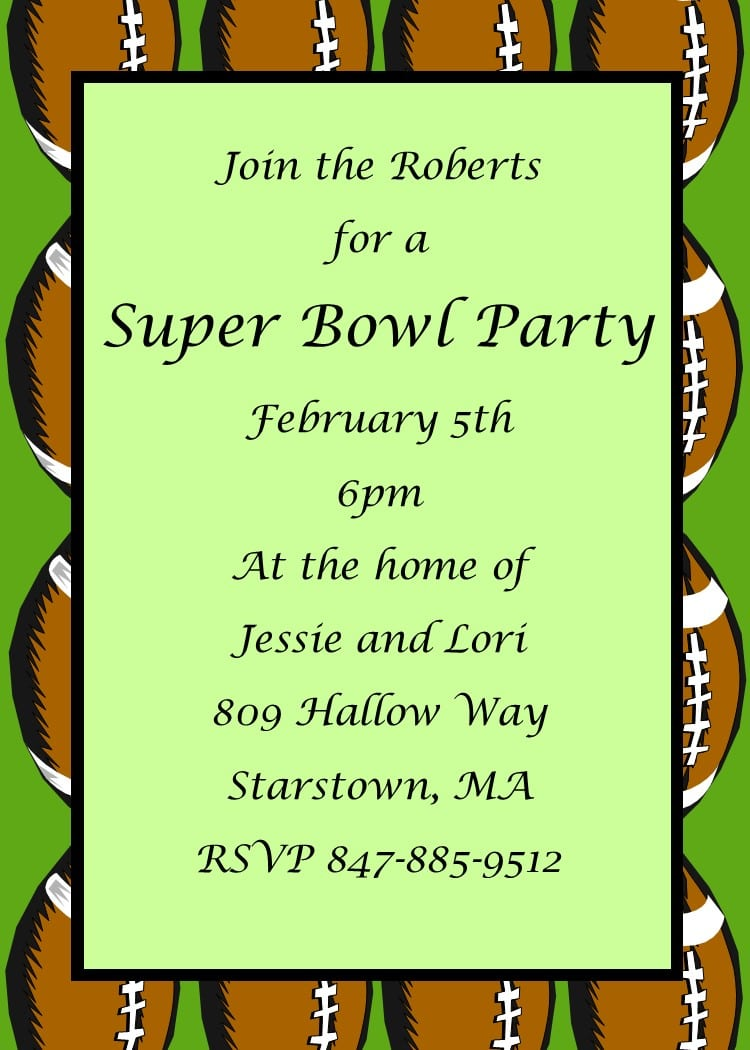 Invitation wording super bowl party images invitation for Super bowl party invitation template