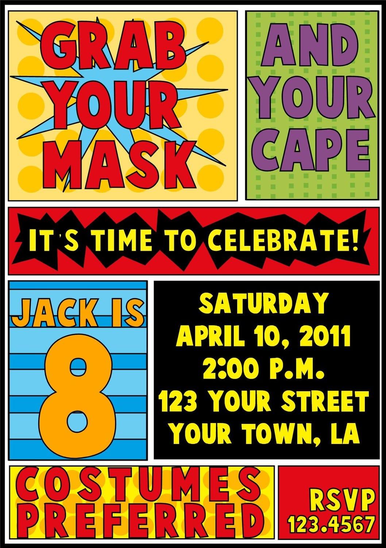 superhero party invitation template