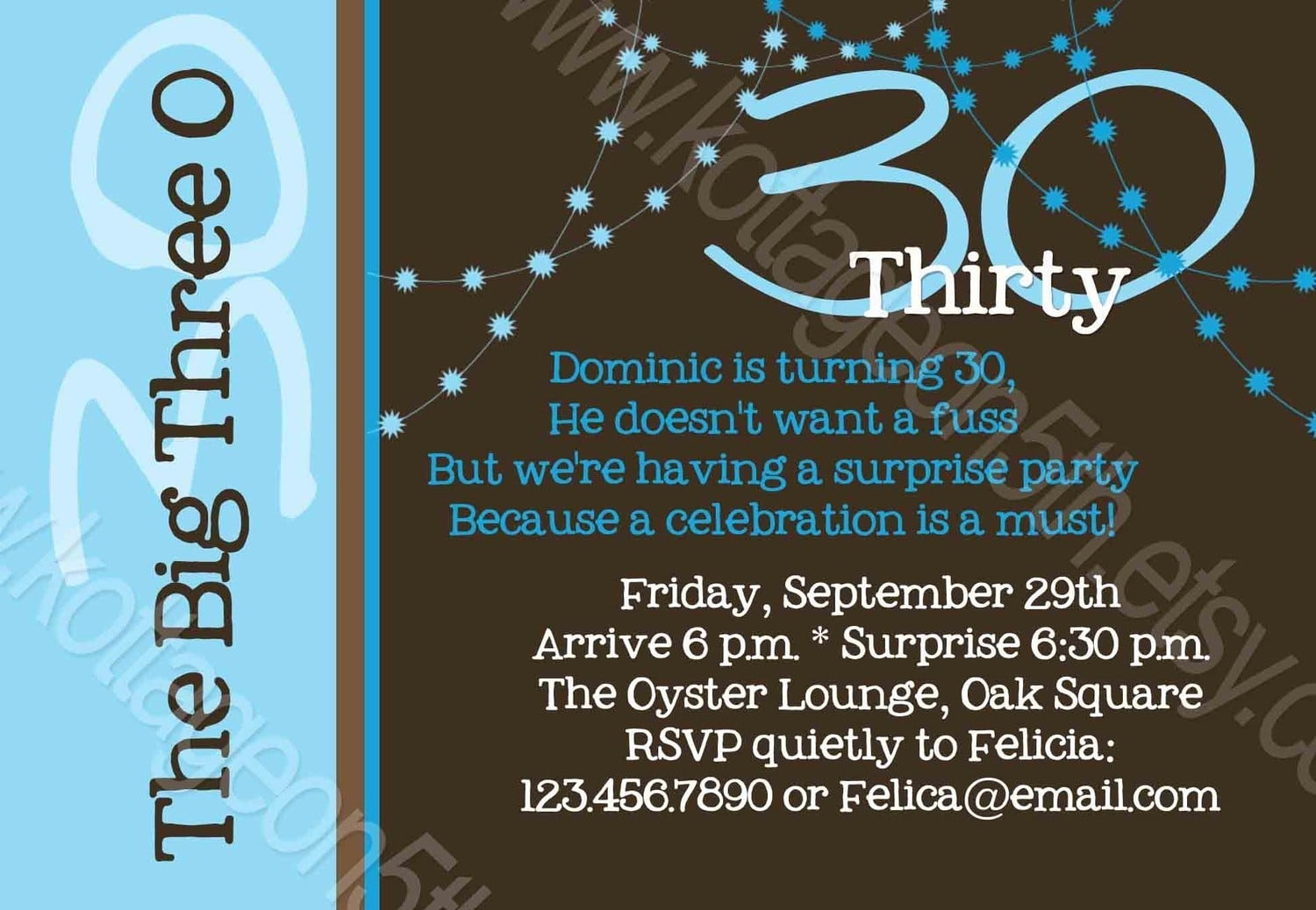 Surprise 30th Birthday Party Invitations For Him – Cute Birthday