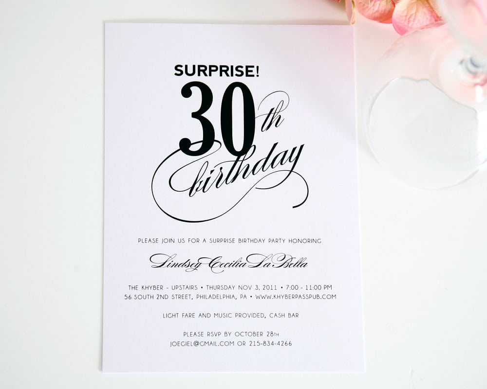 Surprise Party Invitations For 30th Birthday