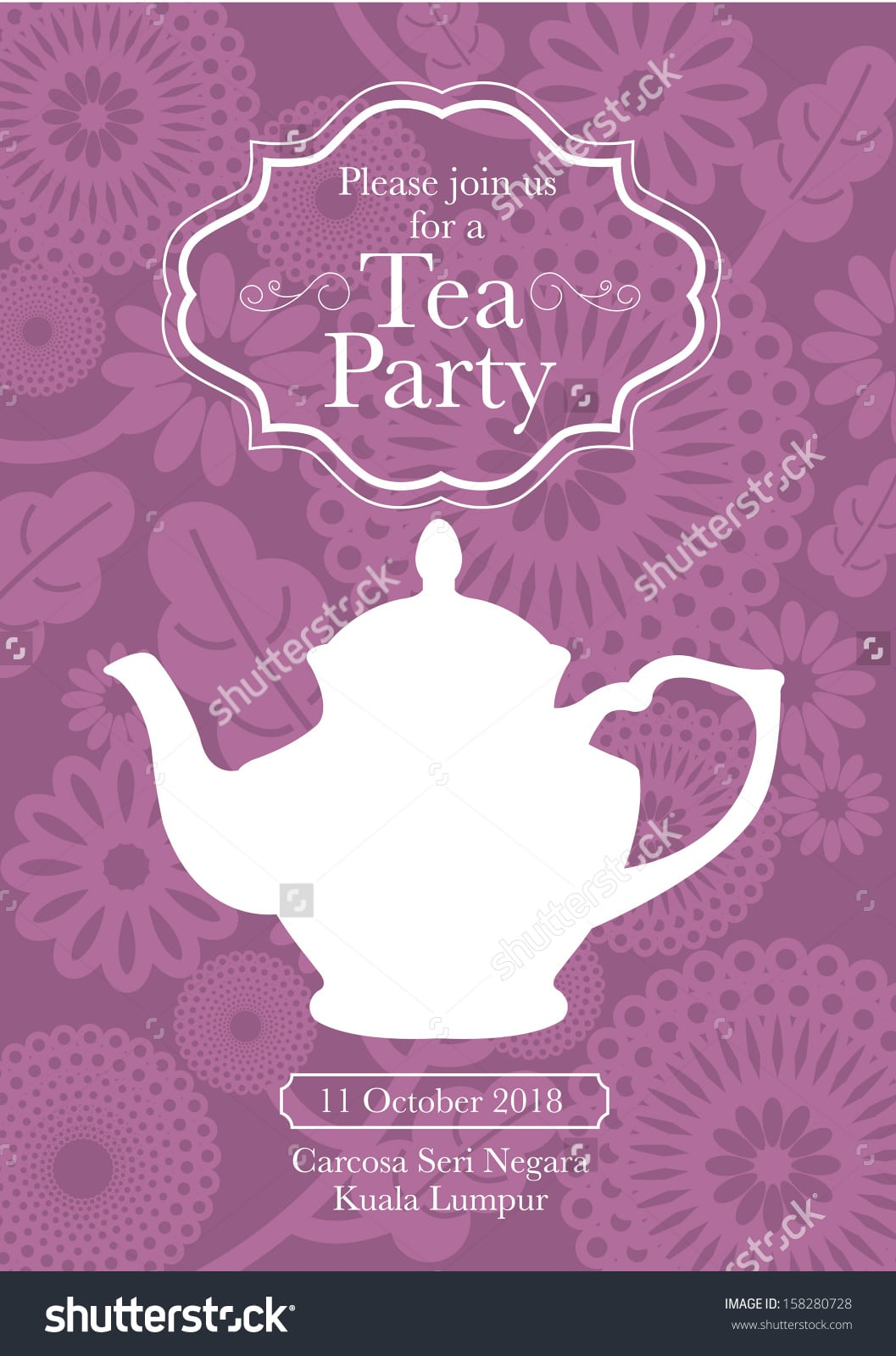 Tea Party Invitation Card Template Vectorillustration Stock Vector