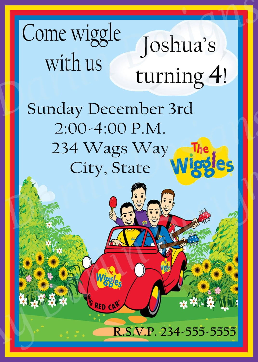 The Wiggles Digital Invitation By Mydarlindesigns On Etsy, $6 00